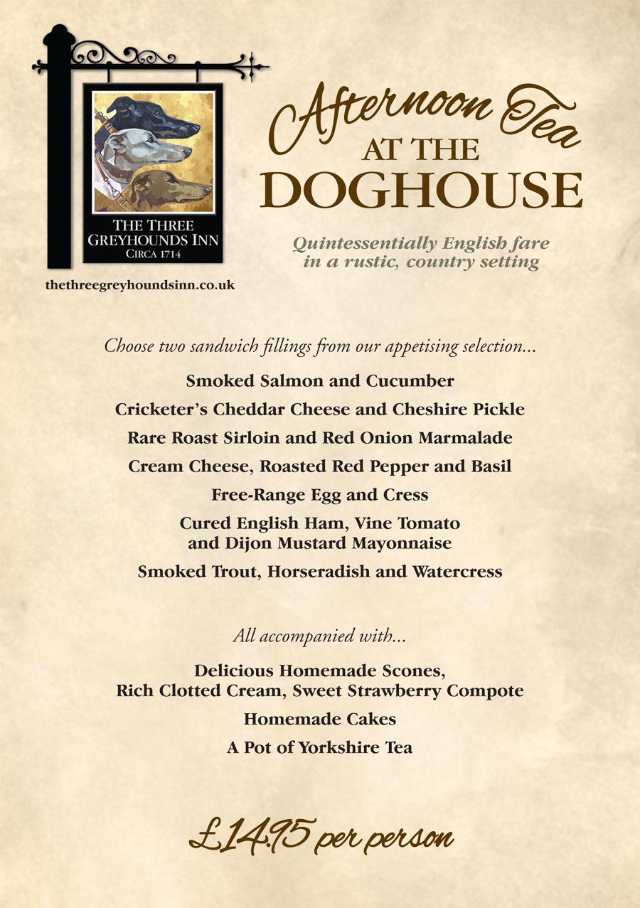 Greyhounds Doghouse Afternoon Tea Menu 11.15-1