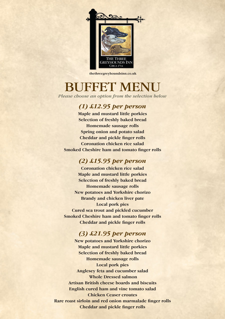 Buffet Menu The Three Greyhounds Pub Cheshire